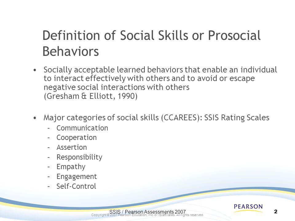 Definition of Social Skills or Prosocial Behaviors
