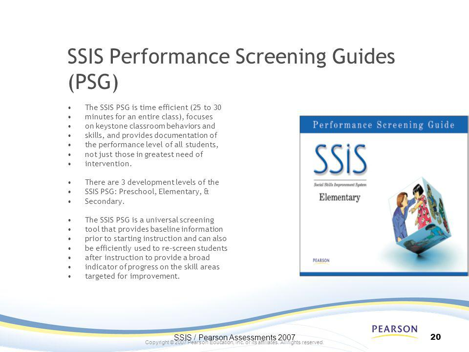 SSIS Performance Screening Guides (PSG)