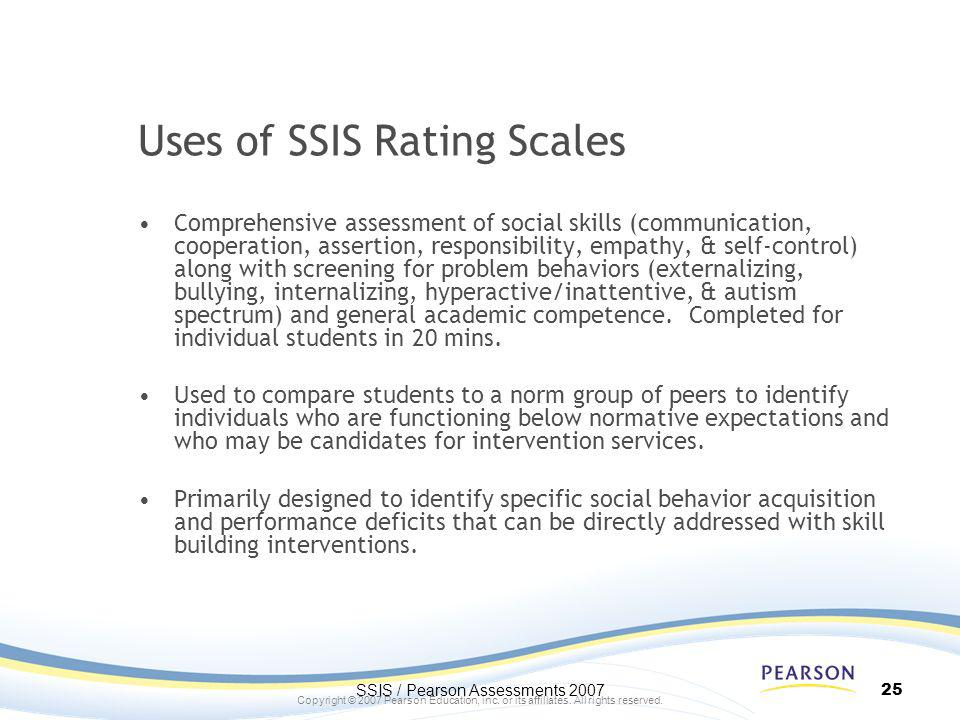 Uses of SSIS Rating Scales