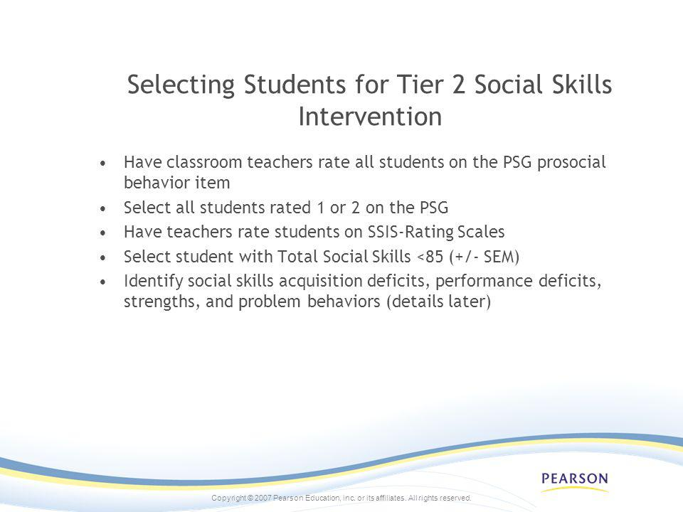 Selecting Students for Tier 2 Social Skills Intervention