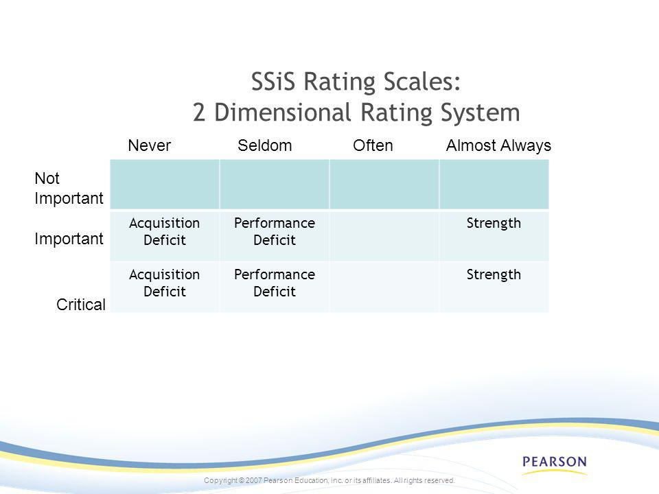 SSiS Rating Scales: 2 Dimensional Rating System