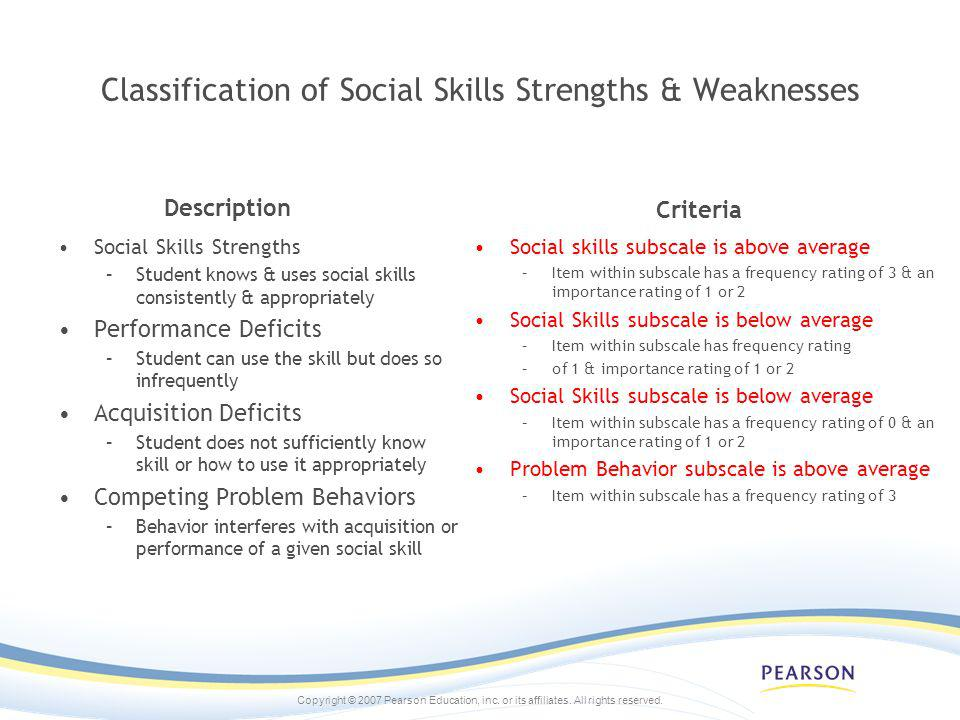 Classification of Social Skills Strengths & Weaknesses