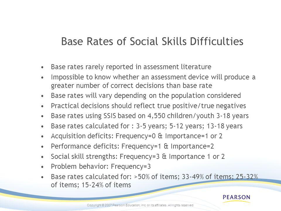 Base Rates of Social Skills Difficulties