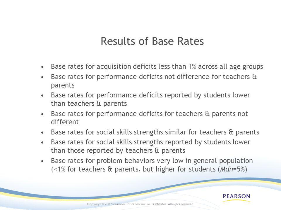 Results of Base Rates Base rates for acquisition deficits less than 1% across all age groups.
