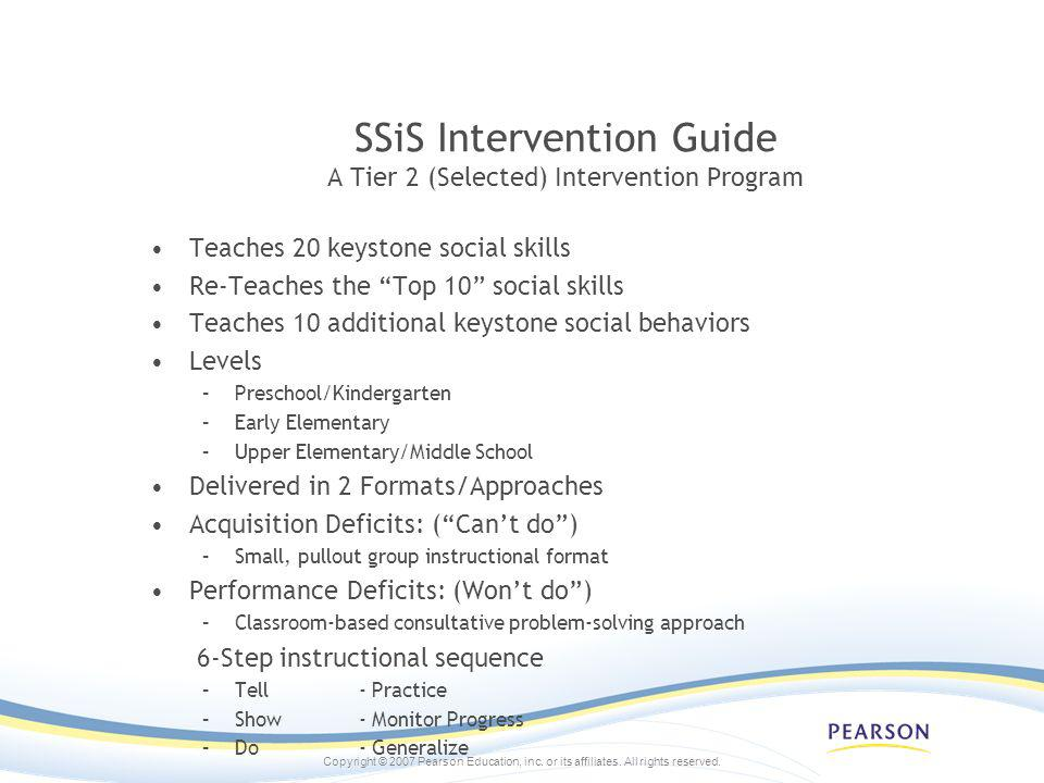 SSiS Intervention Guide A Tier 2 (Selected) Intervention Program