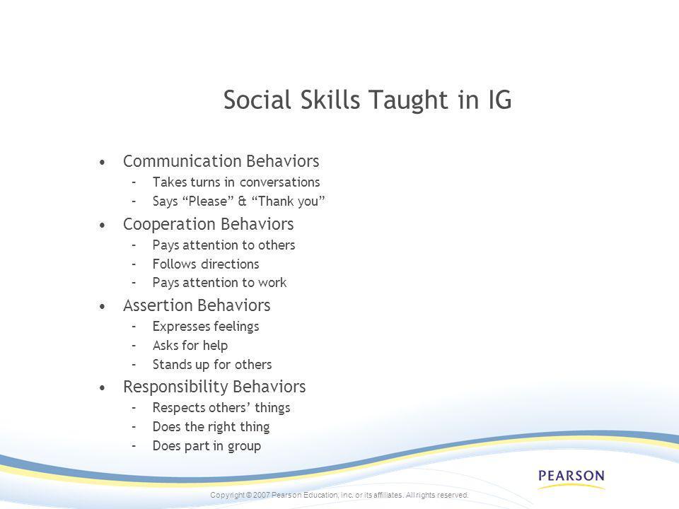 Social Skills Taught in IG