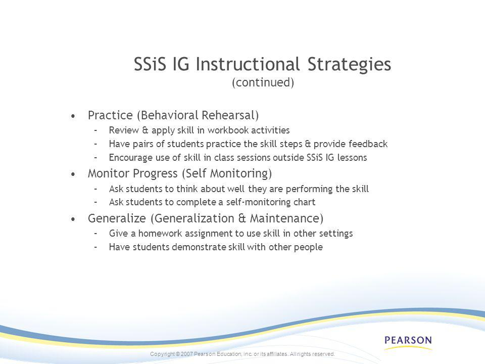 SSiS IG Instructional Strategies (continued)