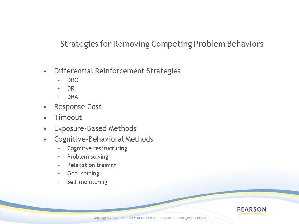 Strategies for Removing Competing Problem Behaviors