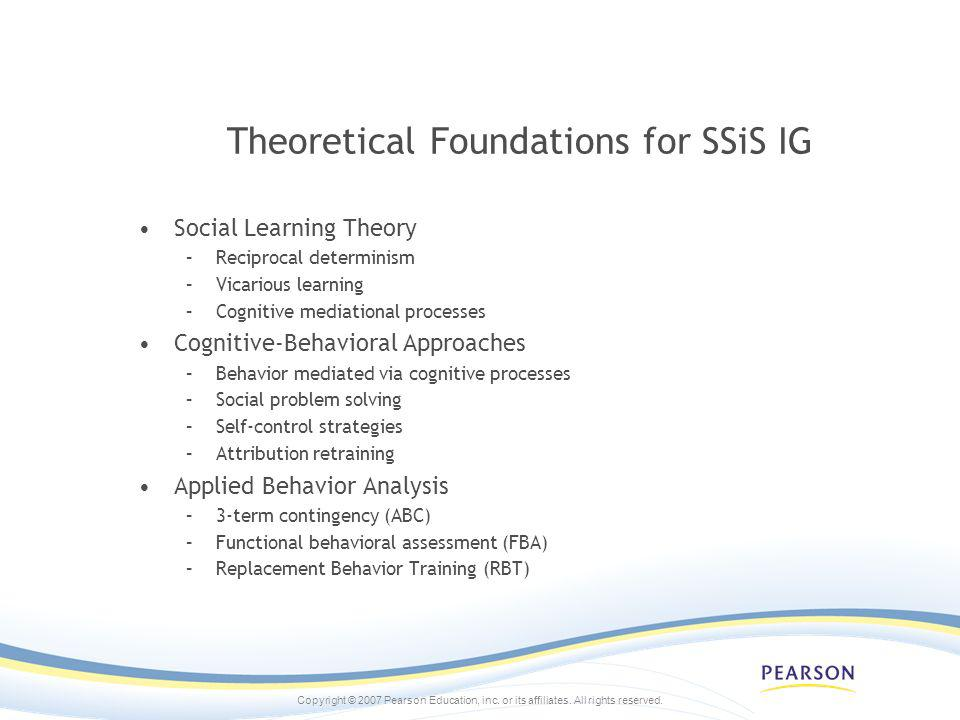 Theoretical Foundations for SSiS IG