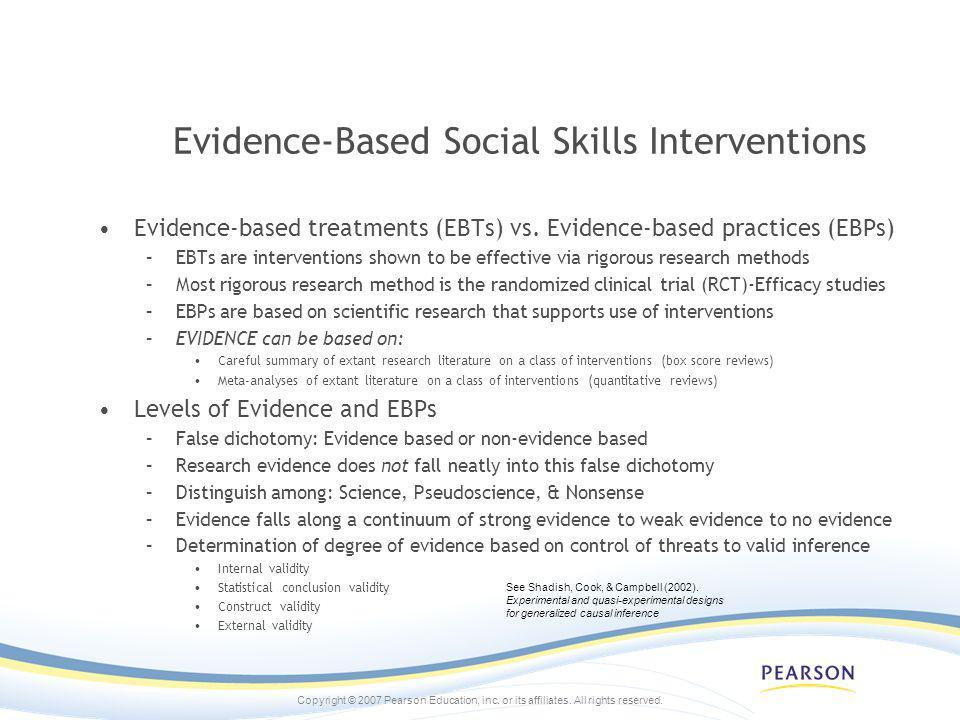Evidence-Based Social Skills Interventions