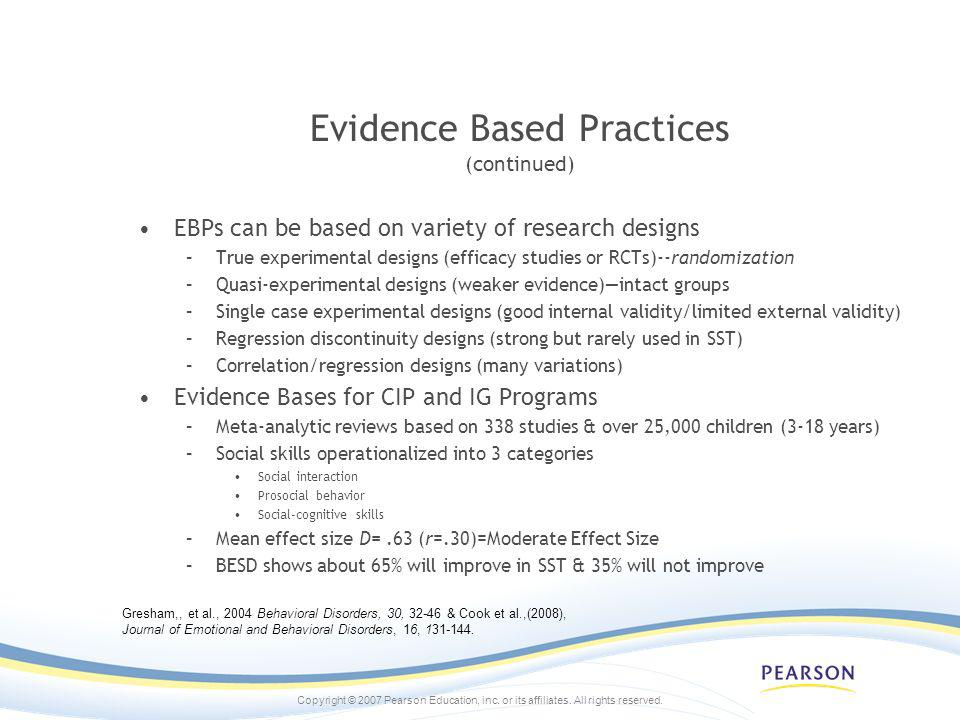 Evidence Based Practices (continued)