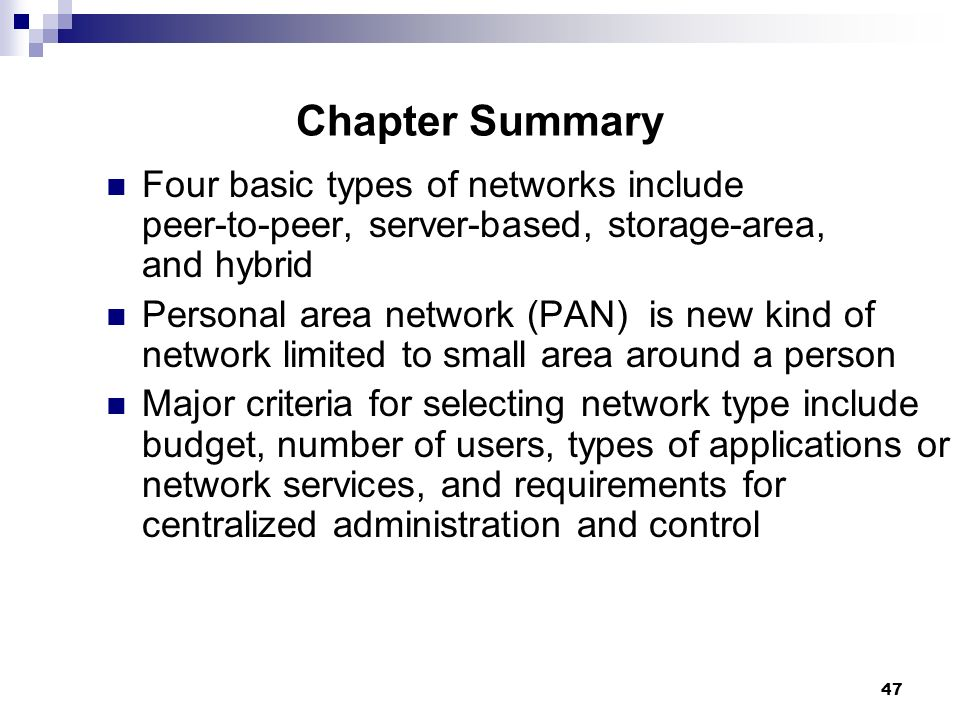 Chapter Summary Four Basic Types Of Networks Include R To Server