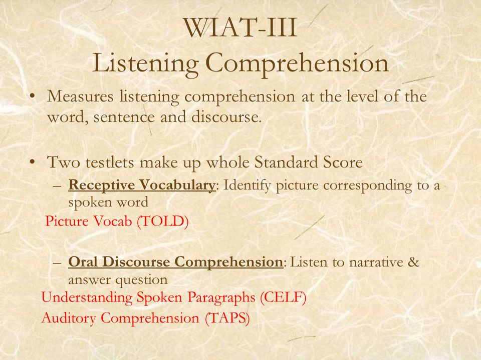 WIAT-III Listening Comprehension