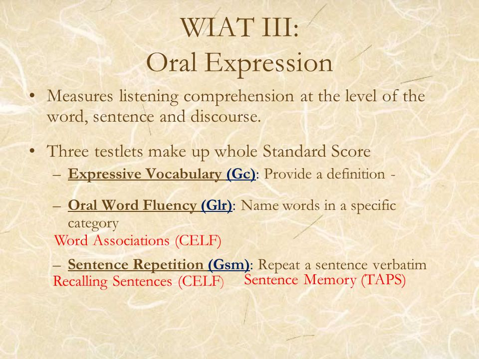 WIAT III: Oral Expression