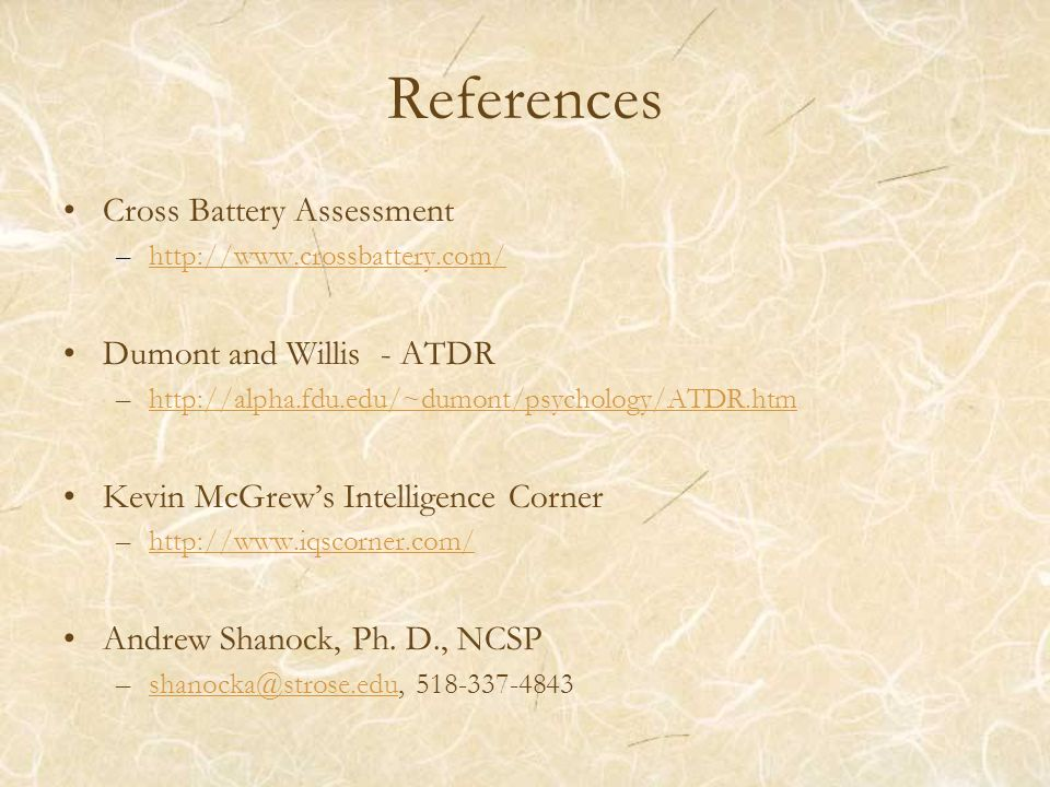 References Cross Battery Assessment Dumont and Willis - ATDR