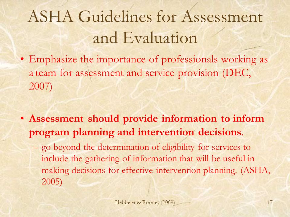 ASHA Guidelines for Assessment and Evaluation