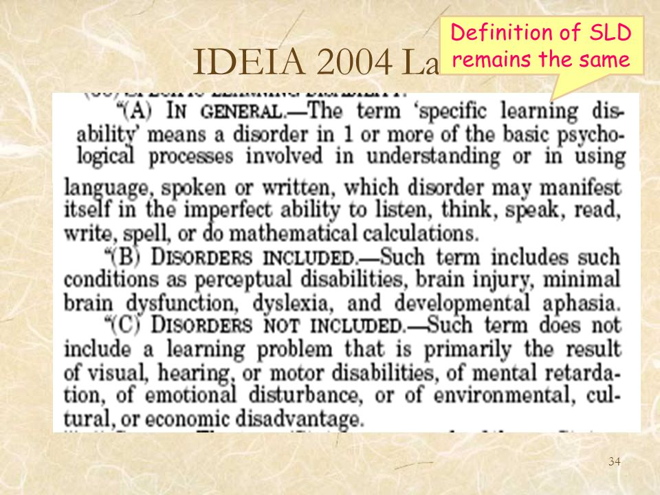 Definition of SLD remains the same