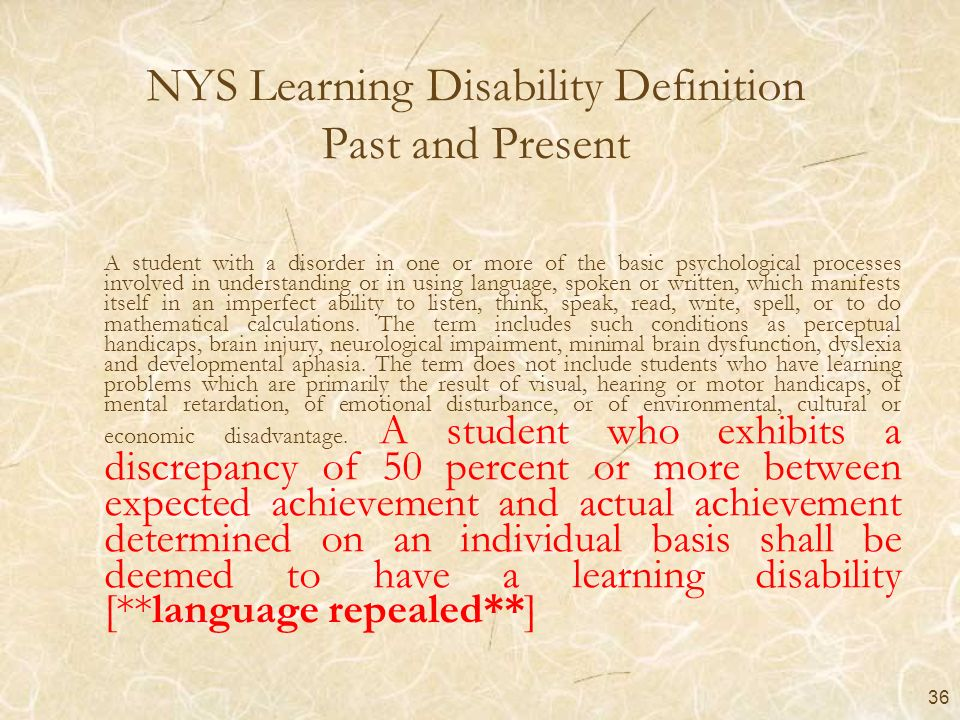 NYS Learning Disability Definition Past and Present
