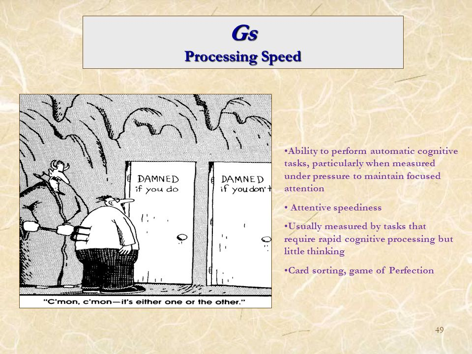 Gs Processing Speed. Ability to perform automatic cognitive tasks, particularly when measured under pressure to maintain focused attention.