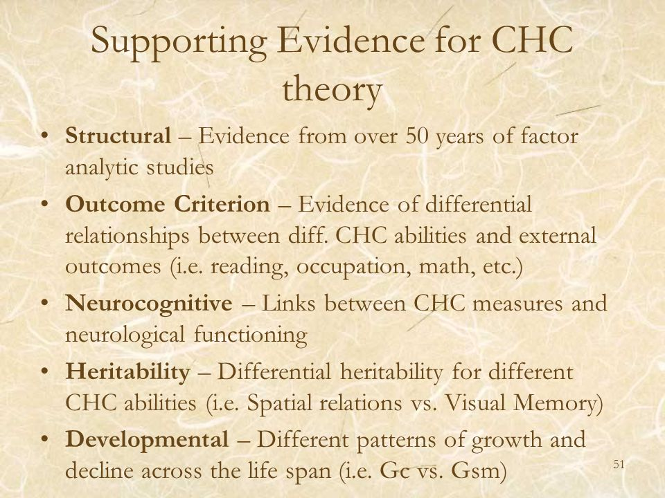 Supporting Evidence for CHC theory