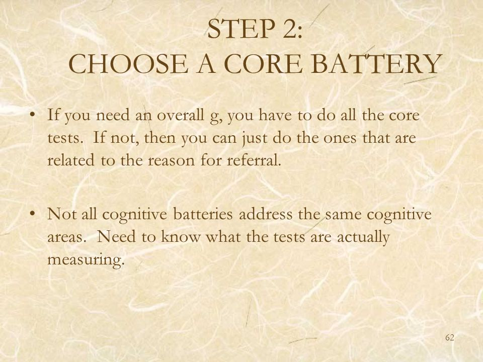 STEP 2: CHOOSE A CORE BATTERY