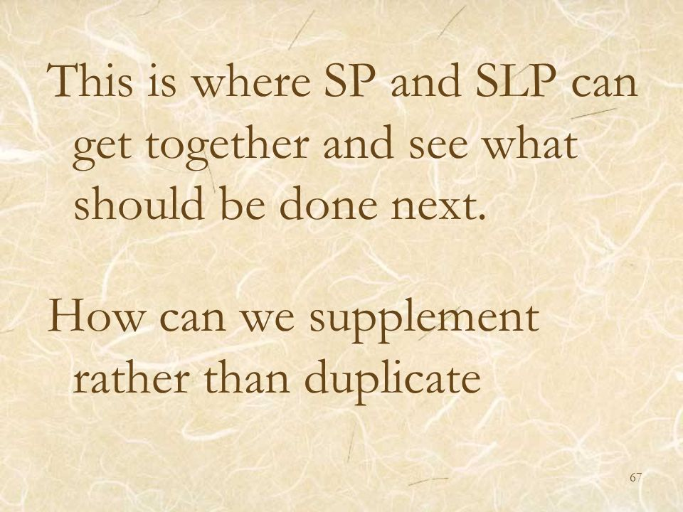 This is where SP and SLP can get together and see what should be done next.