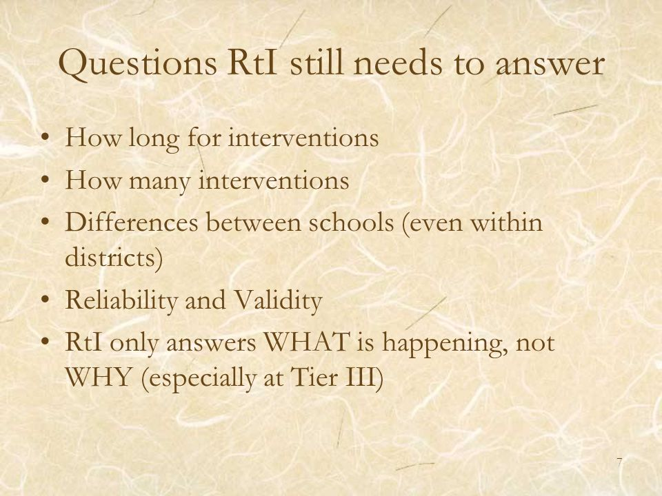 Questions RtI still needs to answer