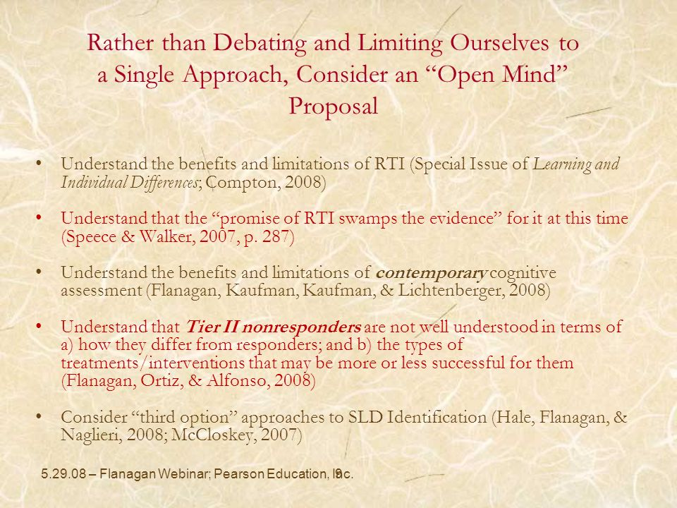 Rather than Debating and Limiting Ourselves to a Single Approach, Consider an Open Mind Proposal