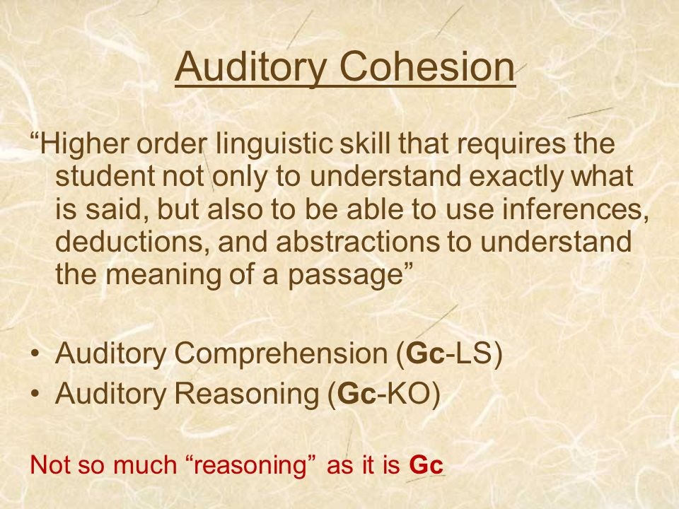 Auditory Cohesion