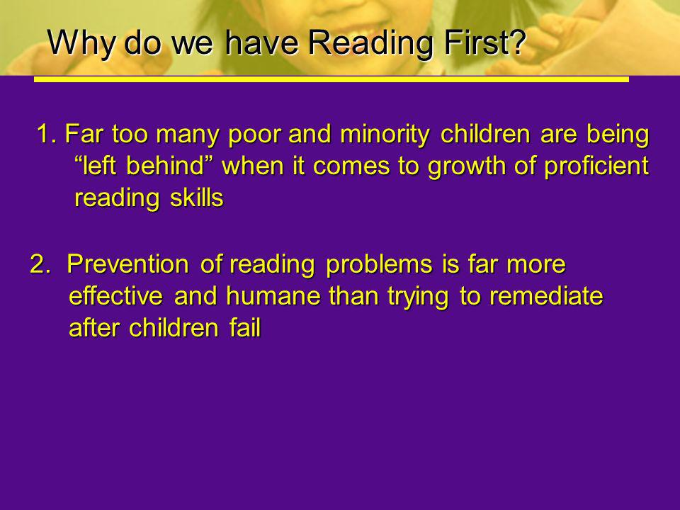 Why do we have Reading First
