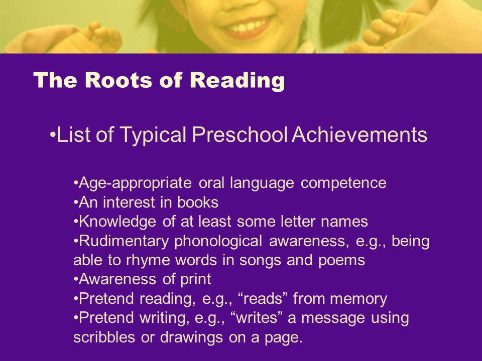 List of Typical Preschool Achievements