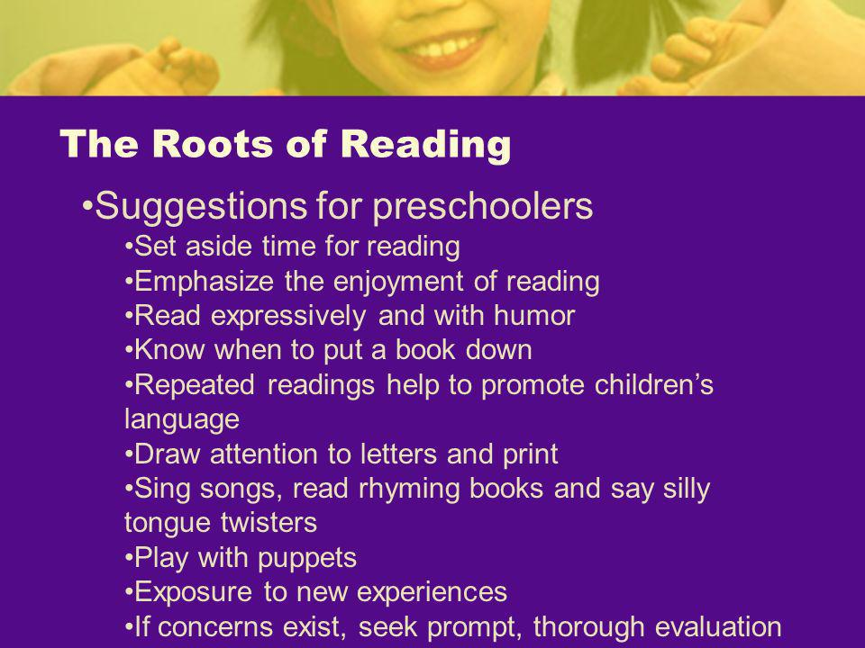 Suggestions for preschoolers