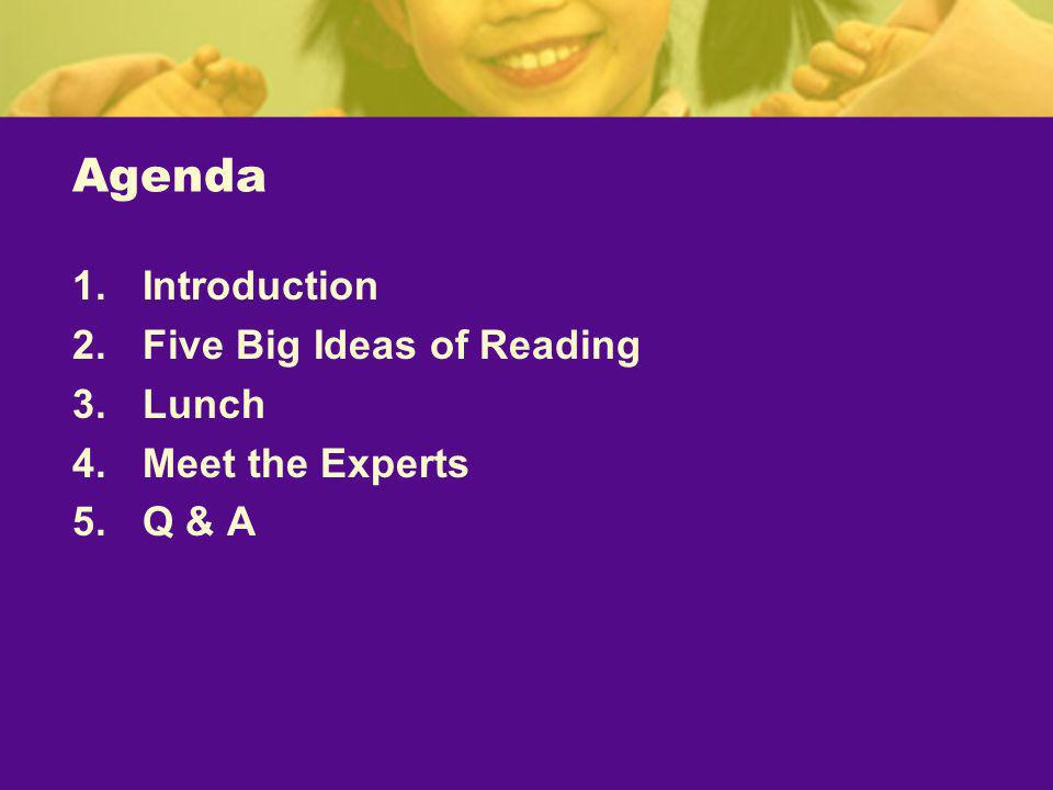 Agenda Introduction Five Big Ideas of Reading Lunch Meet the Experts