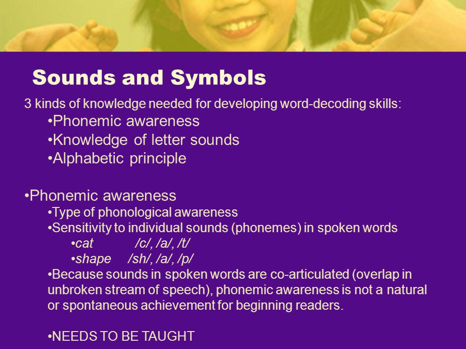 Sounds and Symbols Phonemic awareness Knowledge of letter sounds