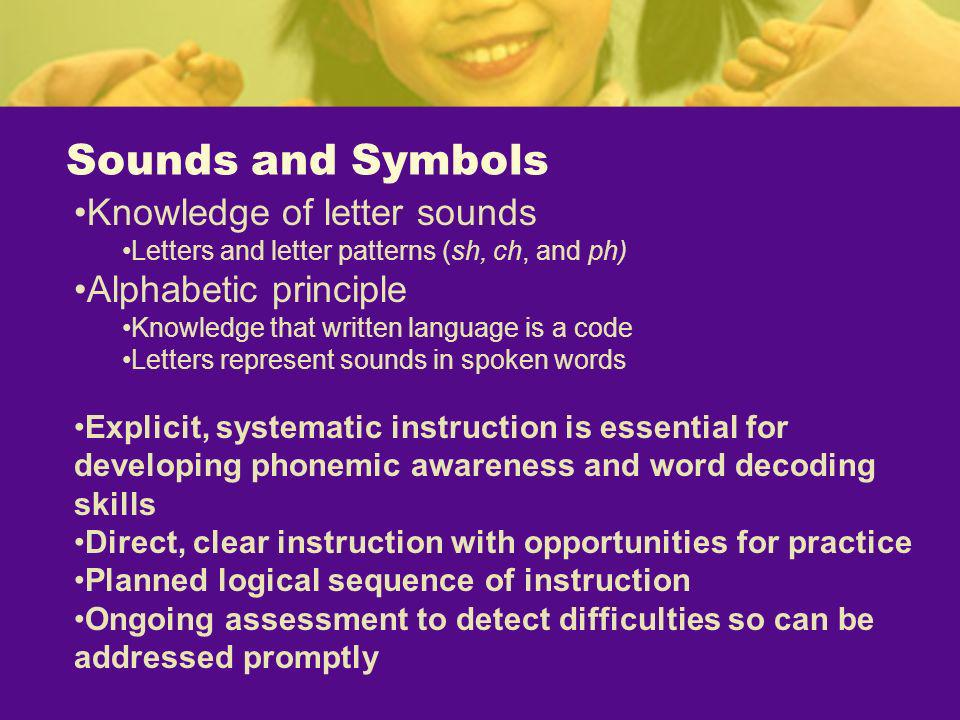 Sounds and Symbols Knowledge of letter sounds Alphabetic principle