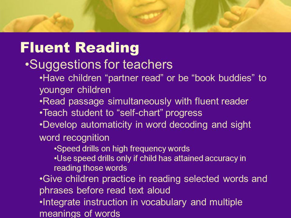Fluent Reading Suggestions for teachers