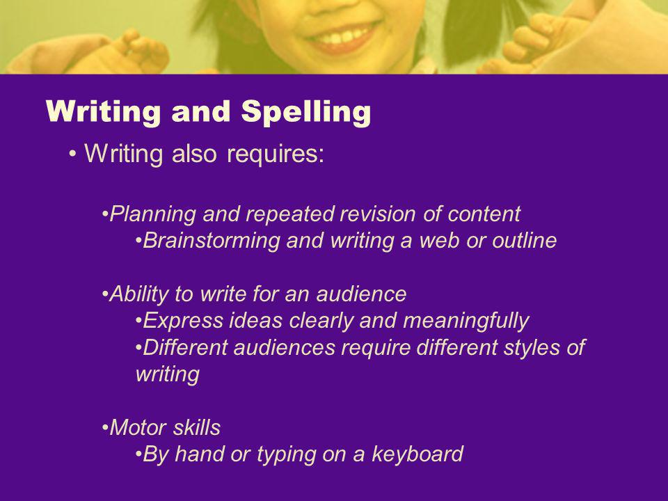 Writing and Spelling Writing also requires: