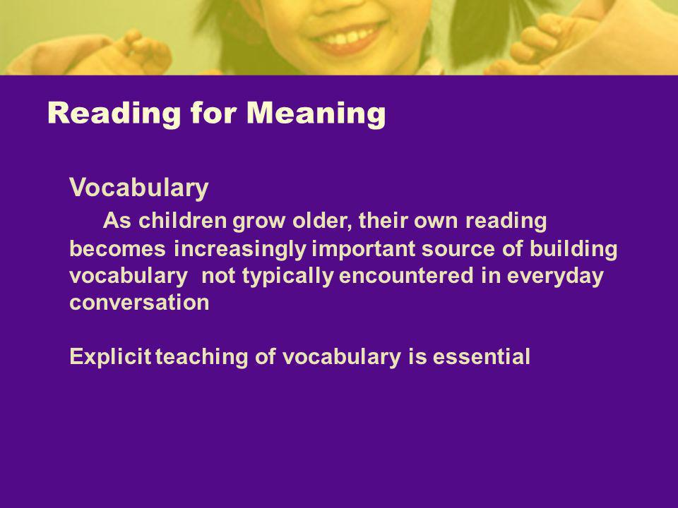 Reading for Meaning Vocabulary