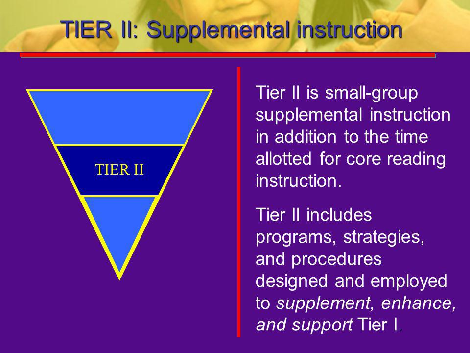 TIER II: Supplemental instruction