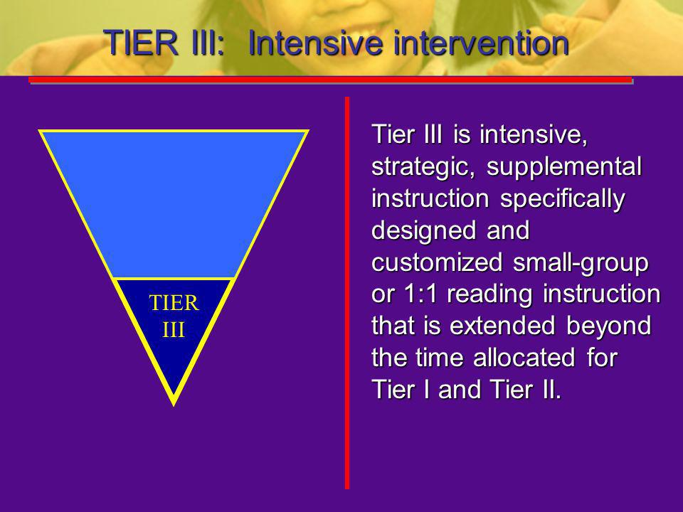 TIER III: Intensive intervention
