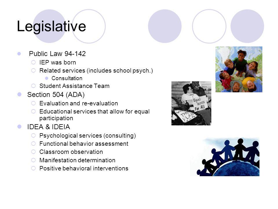 Legislative Section 504 (ADA) IDEA & IDEIA Public Law 94-142