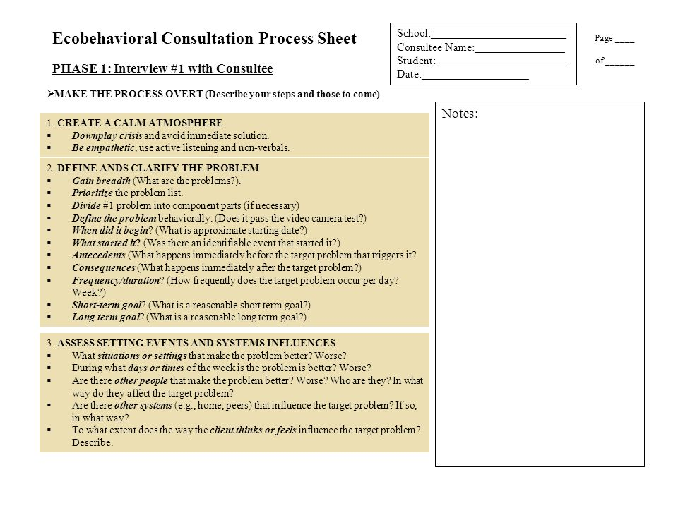 Ecobehavioral Consultation Process Sheet
