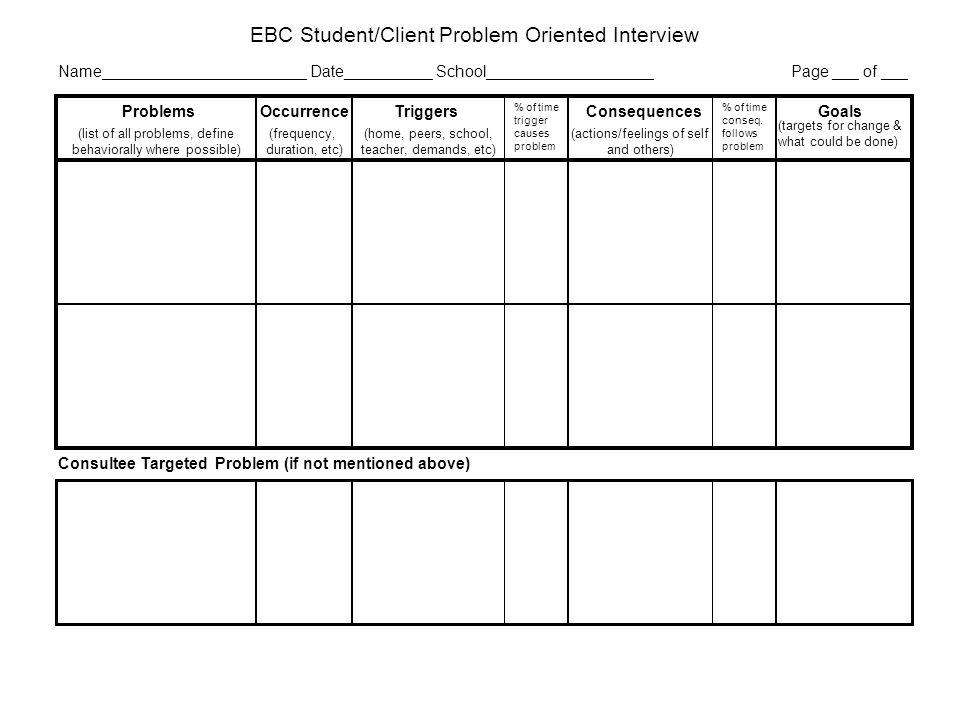 EBC Student/Client Problem Oriented Interview