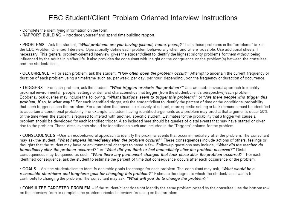 EBC Student/Client Problem Oriented Interview Instructions