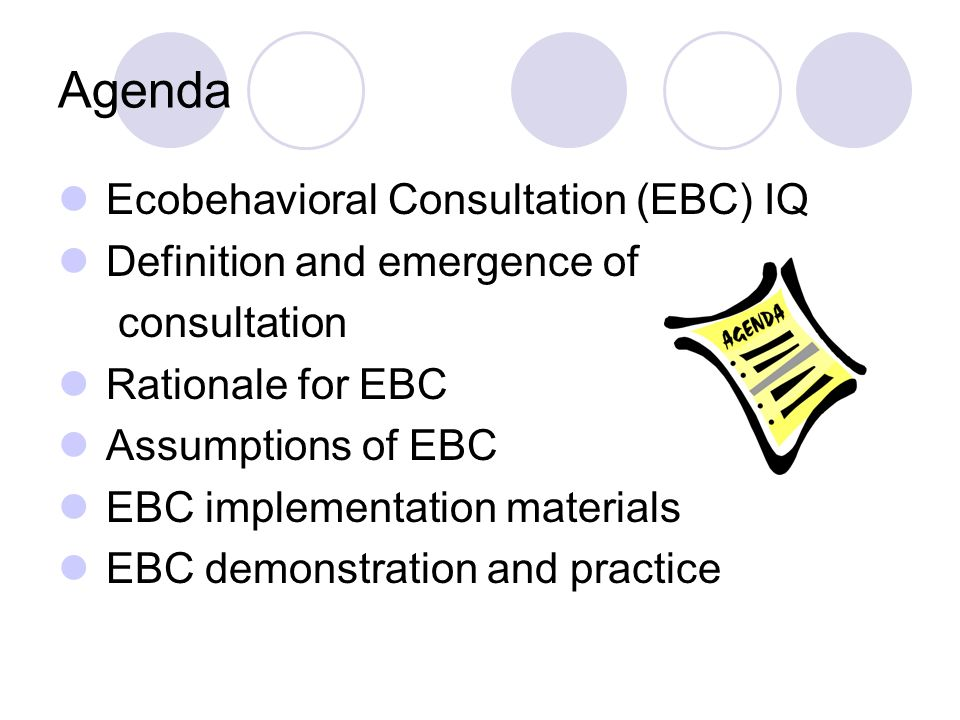 Agenda Ecobehavioral Consultation (EBC) IQ Definition and emergence of