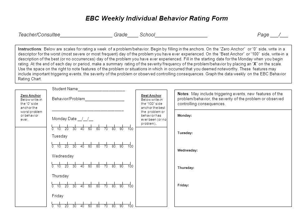 EBC Weekly Individual Behavior Rating Form