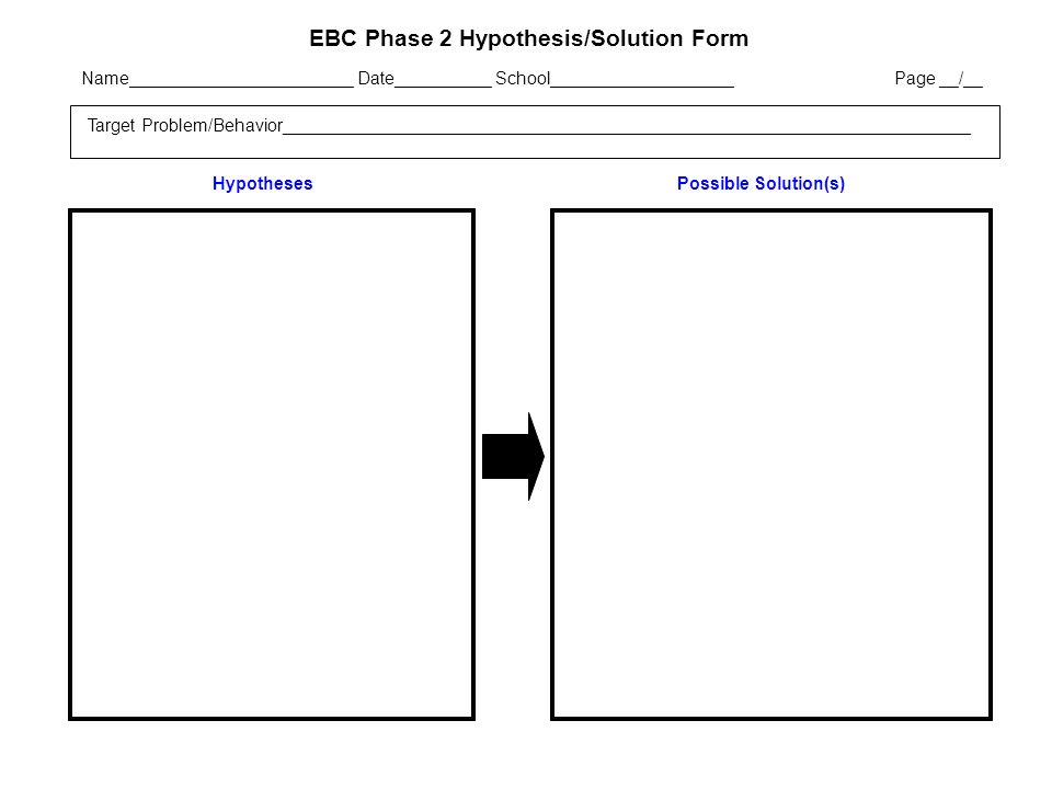 EBC Phase 2 Hypothesis/Solution Form