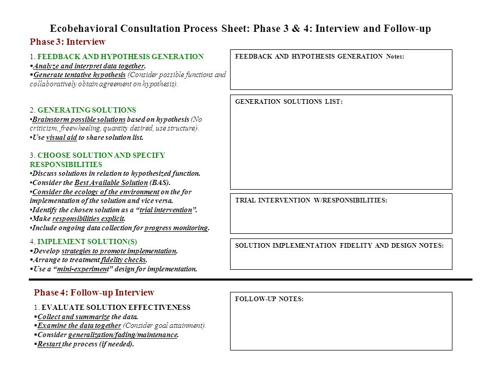 Ecobehavioral Consultation Process Sheet: Phase 3 & 4: Interview and Follow-up