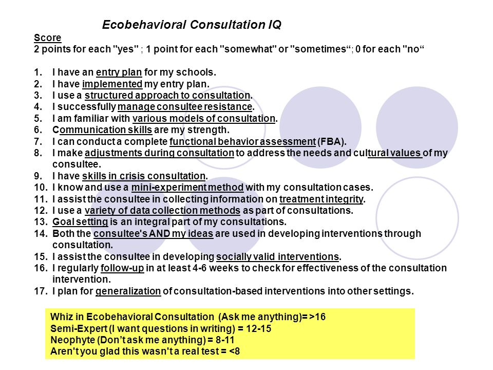 Ecobehavioral Consultation IQ
