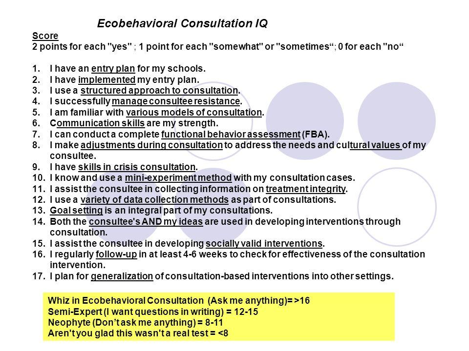 Ecobehavioral Consultation IQ